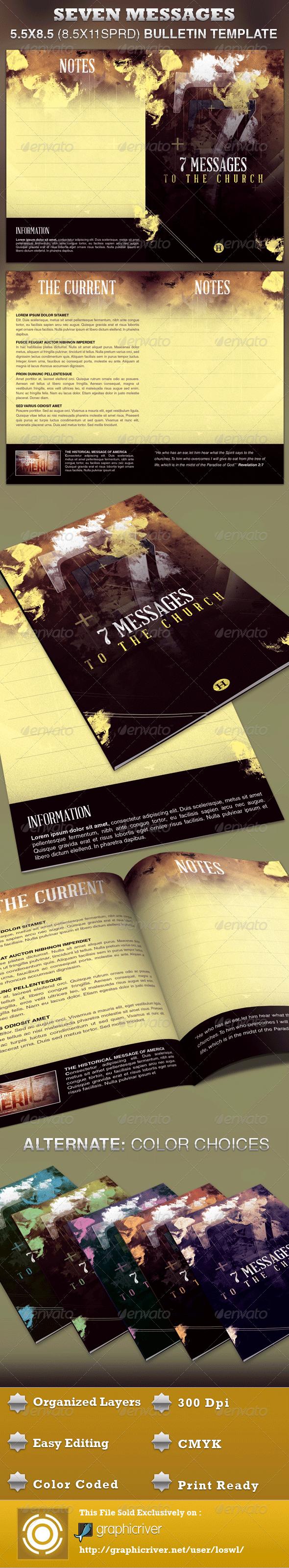 Seven Messages Church Bulletin Template - Informational Brochures