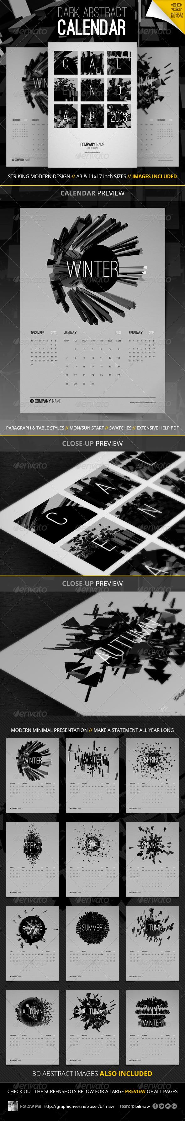 GraphicRiver Dark Abstract Calendar 3337344