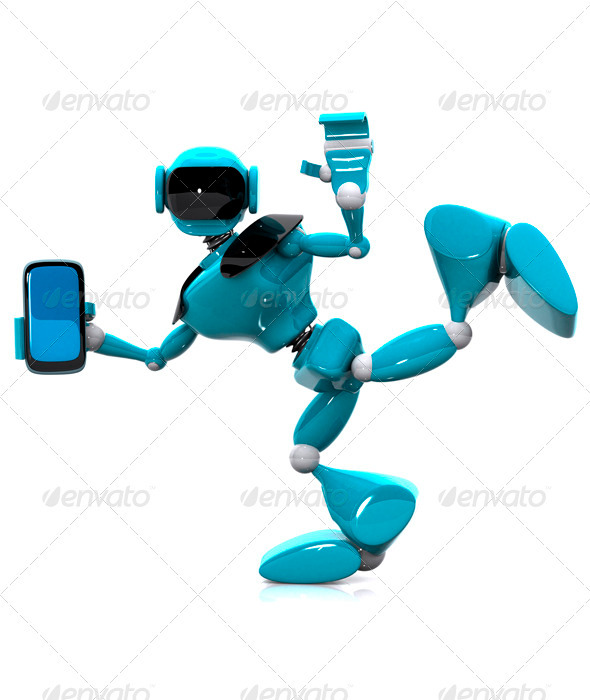 Robot and Phone - Technology Isolated Objects