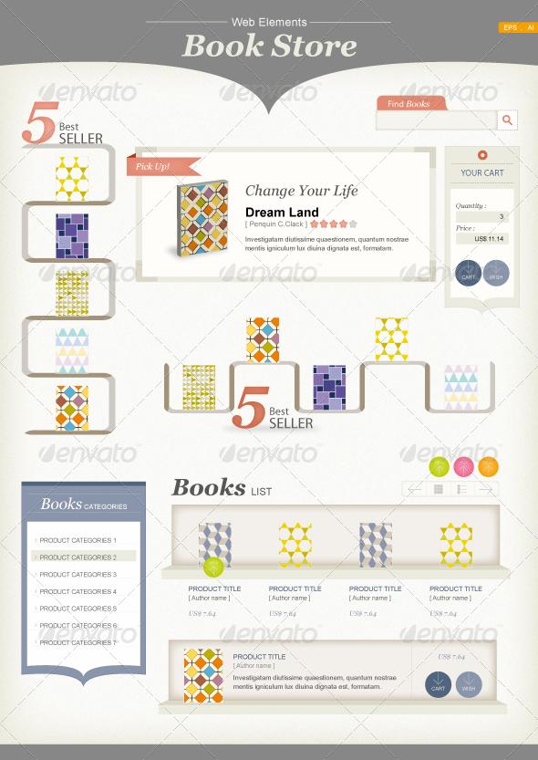 GraphicRiver Web Elements Book Store 350195