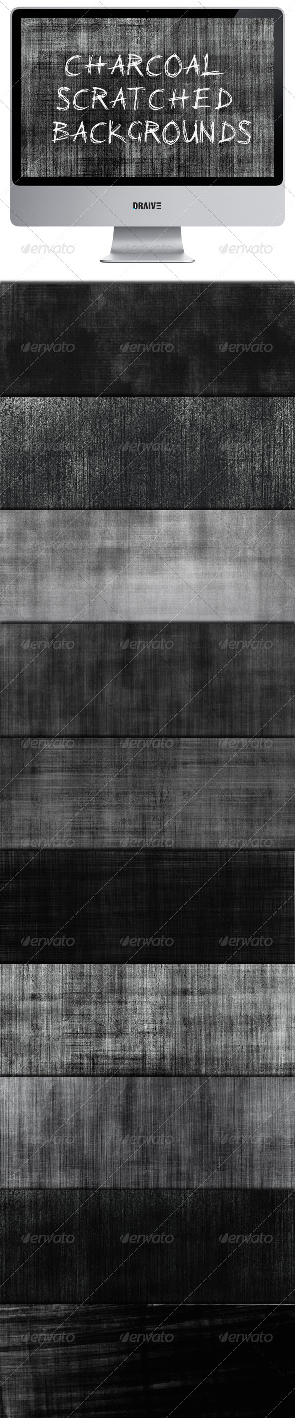 GraphicRiver Charcoal Scratched Backgrounds 3339284