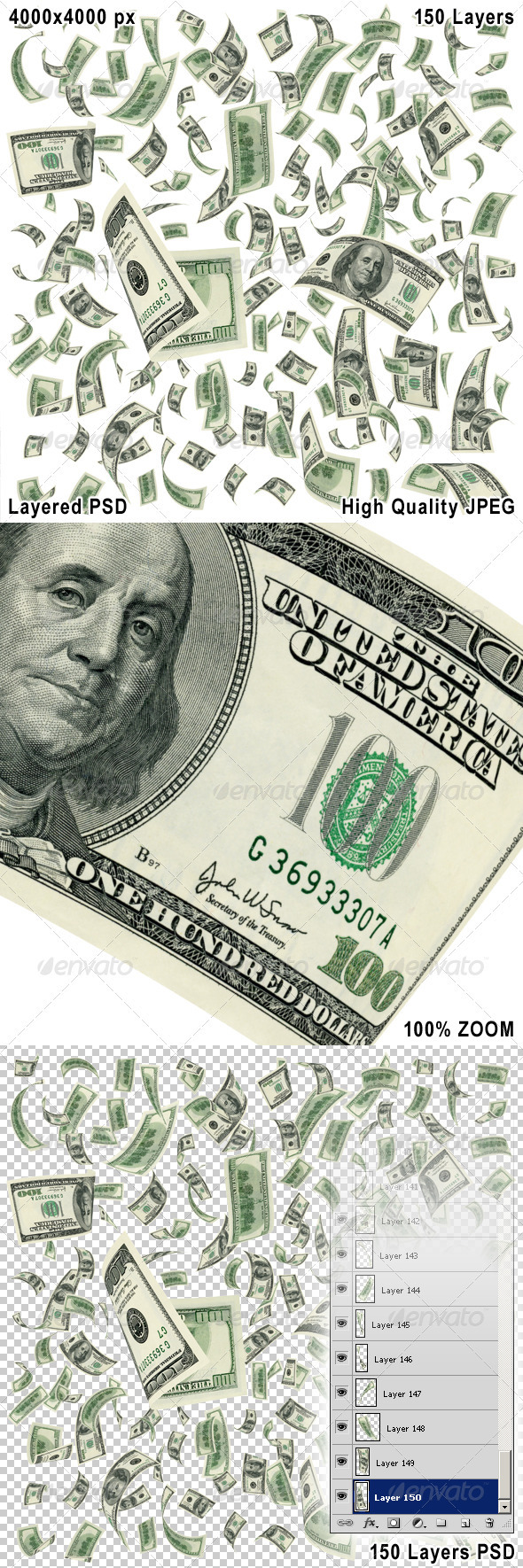 Falling Dollar Bills on White Background - Objects 3D Renders