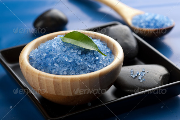 herbal salt and spa stones - Stock Photo - Images