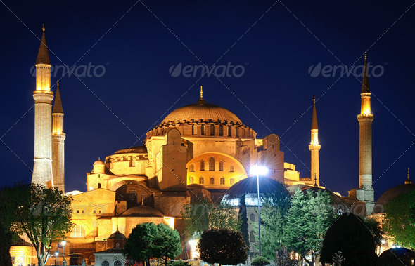 Hagia Sophia at night - Stock Photo - Images