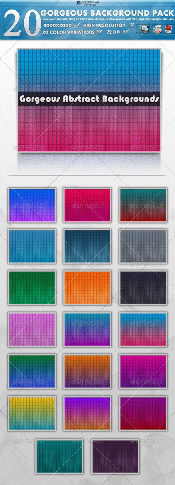 20 Modern & Colorful Background Pack - Backgrounds Graphics