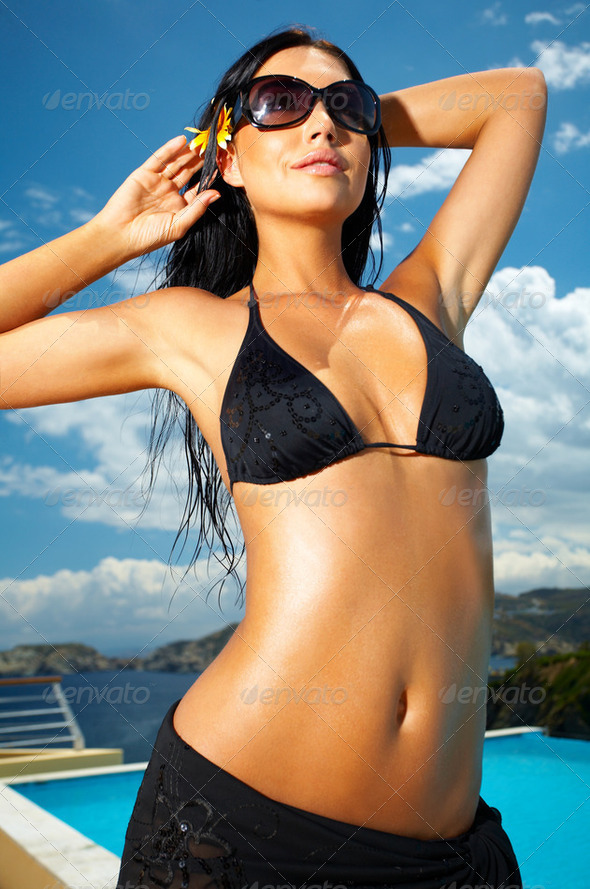 Black Bikini Girl - Stock Photo - Images