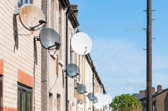 Row of satellite dishes - Stock Photo - Images