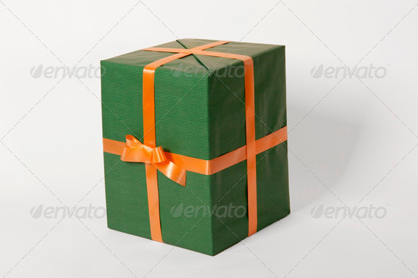 green present and orange ribbon - Stock Photo - Images