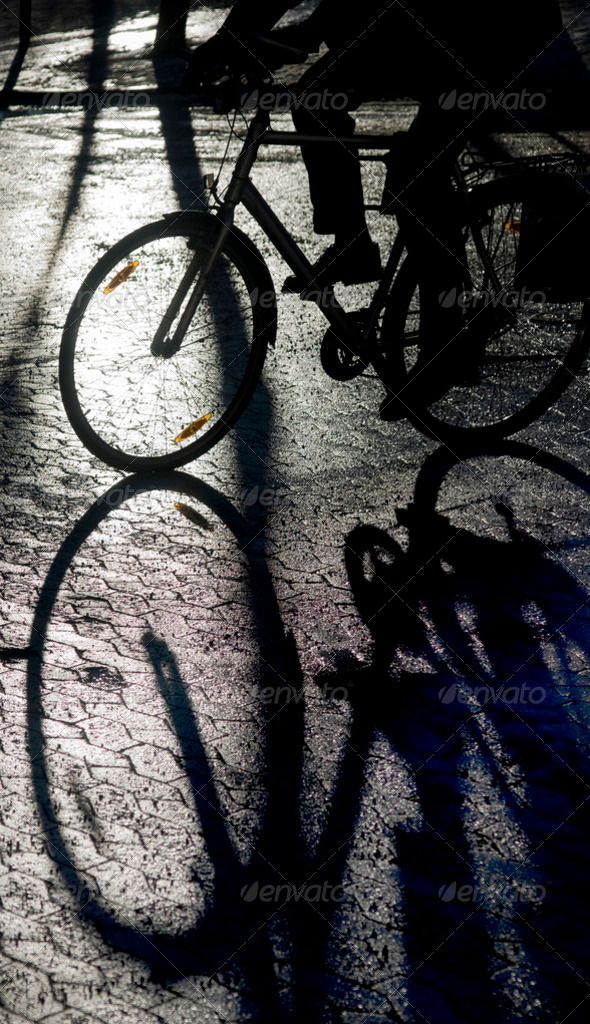 Shadow of bicycle - Stock Photo - Images