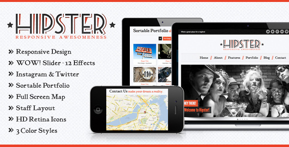 ThemeForest Hipster Retro Responsive HTML5 Template 3340107