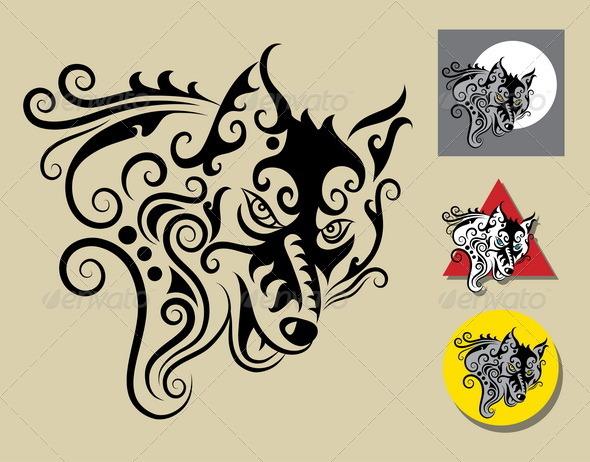 Wolf symbol vector - Characters Vectors