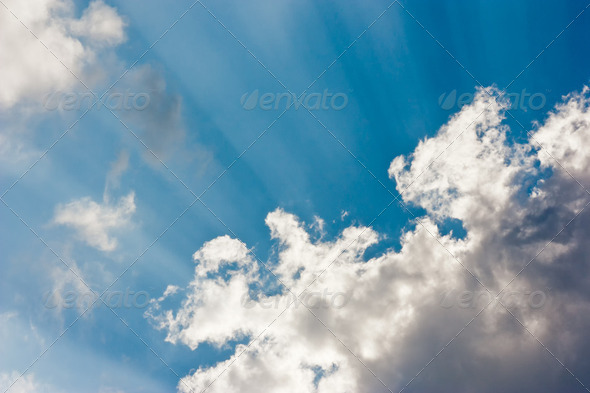 Sun Beams in the Sky - Stock Photo - Images