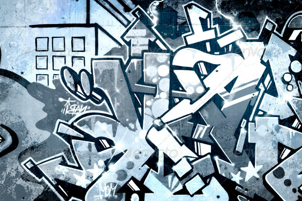 Graffiti over old dirty wall, urban hip hop background Gray text - Stock Photo - Images