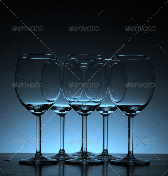 Y8Empty wine glass in Beautiful light background - Stock Photo - Images