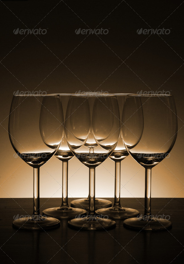 Y9Empty wine glass in Beautiful light background - Stock Photo - Images