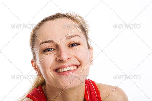 A sporty blonde in red leotard - Stock Photo - Images
