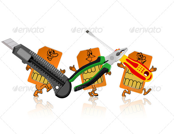 SIM-card in the form of little people are tools. - Stock Photo - Images