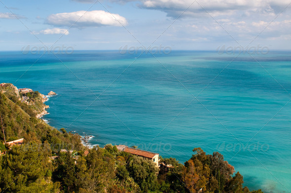 Beautiful coast of Sicily. View from Taormina,  - Stock Photo - Images