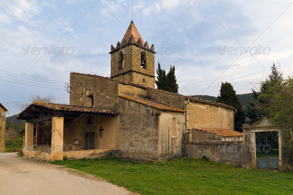 Catalan typical rural landscape in Spain - Stock Photo - Images