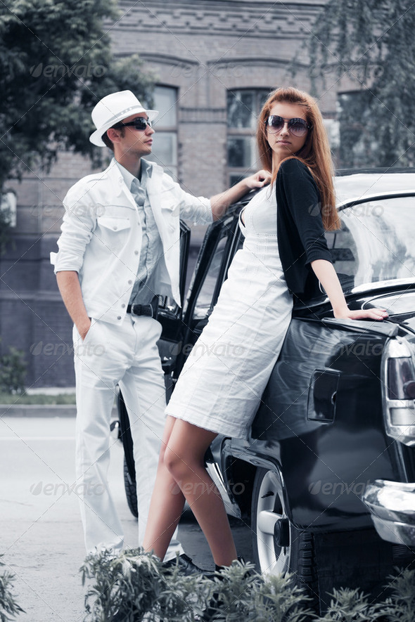 Young Couple With A Retro Car - Stock Photo - Images