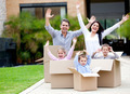 Happy family moving house