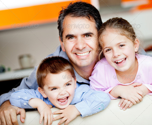 Father with kids - Stock Photo - Images