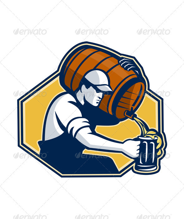 GraphicRiver Bartender Worker Pouring Beer From Barrel 3340295