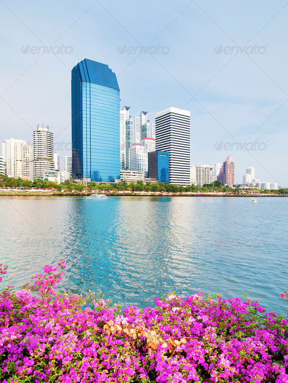 Business area buildings of Bangkok, Thailand - Stock Photo - Images