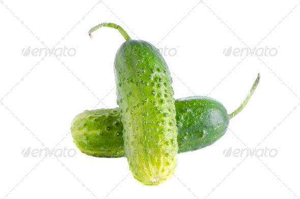 isolated two cucumbers - Stock Photo - Images