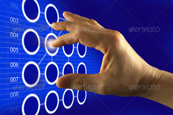 Finger Touching Digital Touch Screen - Stock Photo - Images