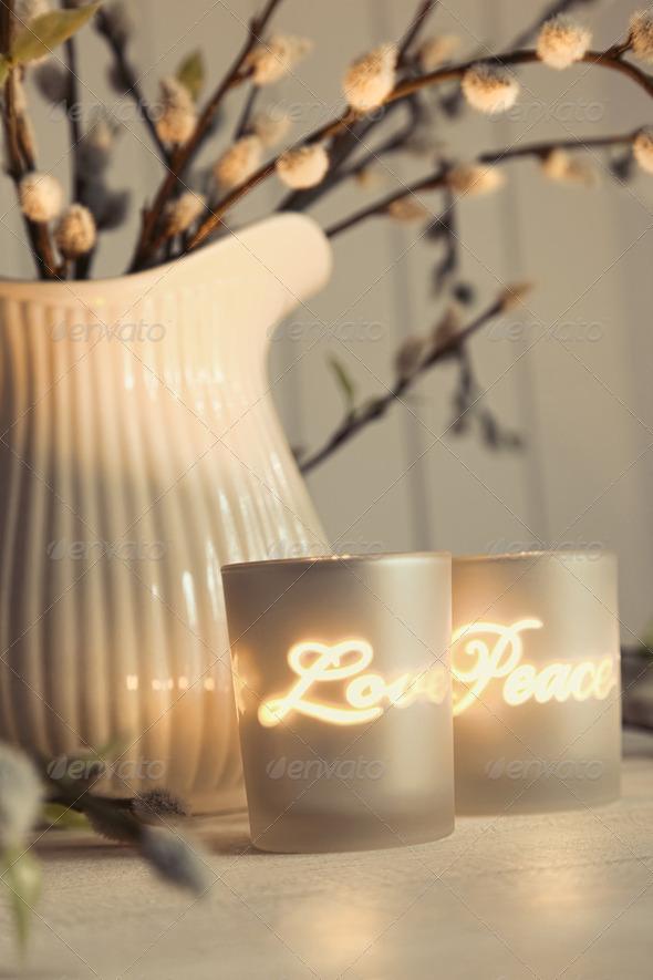 Meditation votive candles creating a relaxing atmosphere - Stock Photo - Images