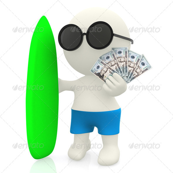 3D surfer with money - Stock Photo - Images