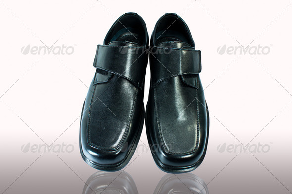 Men's black leather shoes. - Stock Photo - Images