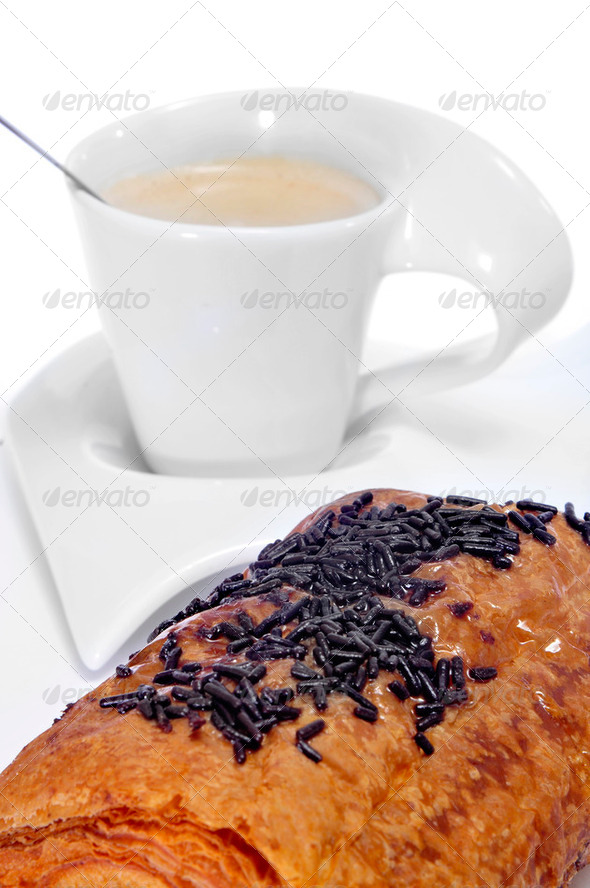 croissant and coffee - Stock Photo - Images