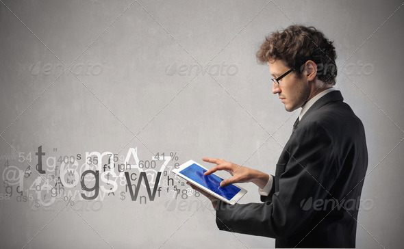 Communicate through technology - Stock Photo - Images