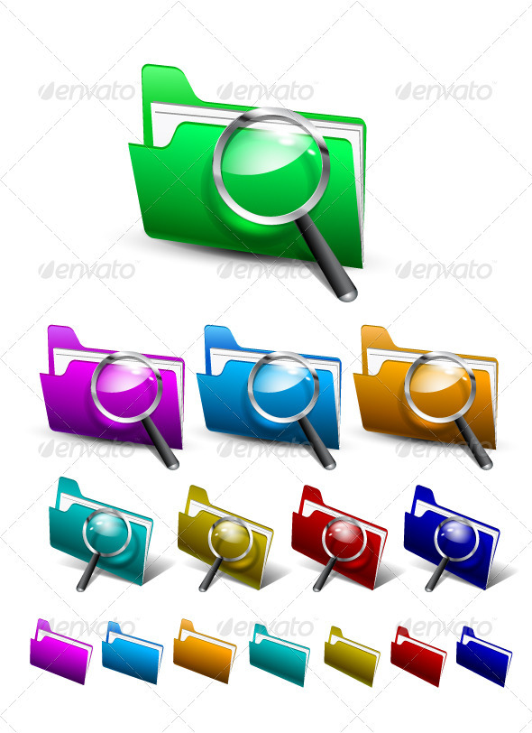 GraphicRiver Vector Search Folder Icons 3327532