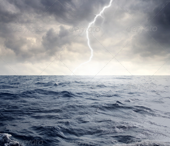 Storm over the sea - Stock Photo - Images
