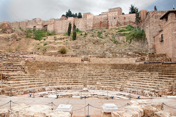 Old Roman theater in Malaga, Spain - Stock Photo - Images