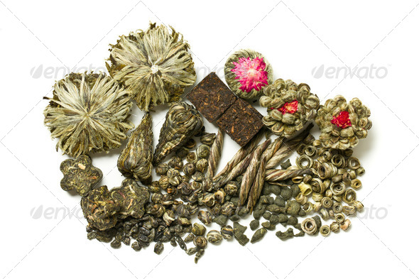 various dry leaves of green tea - Stock Photo - Images