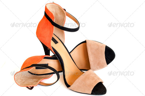 beige orange and black woman high heel shoe - Stock Photo - Images