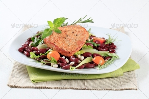 Marinated pork and red bean salad - Stock Photo - Images