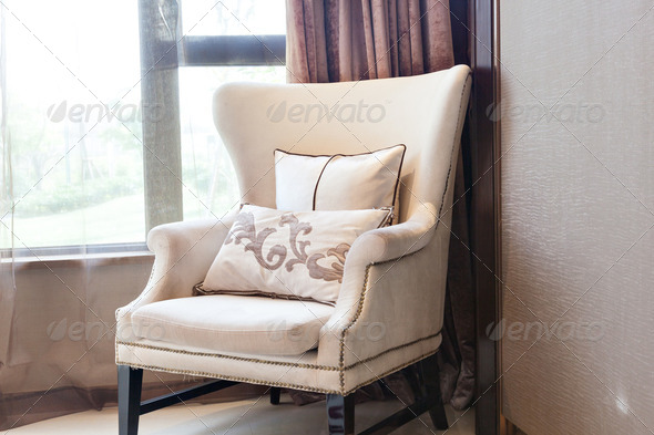Armchair close to  the window - Stock Photo - Images