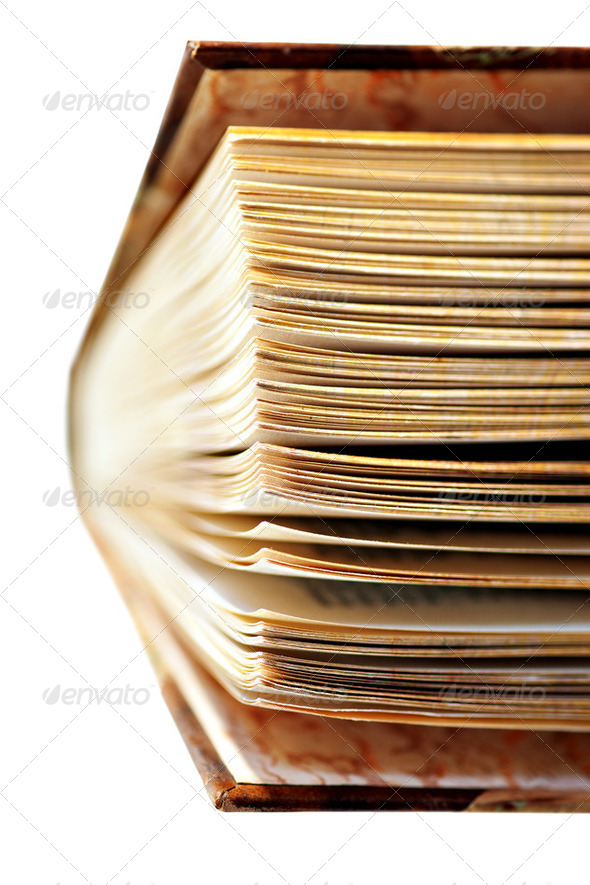 half open vintage book - Stock Photo - Images
