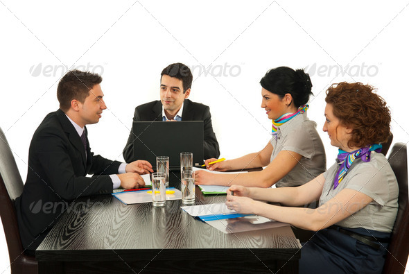 Happy conversation at business meeting - Stock Photo - Images