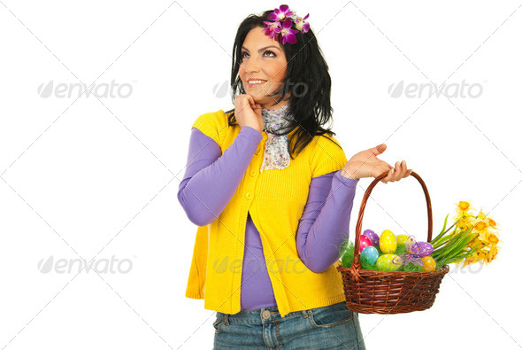 Dreaming Easter woman - Stock Photo - Images