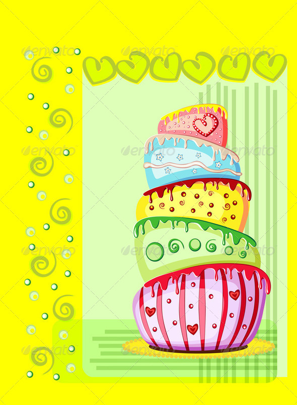 Bright birthday cake. Postcard with place for your text - Stock Photo - Images