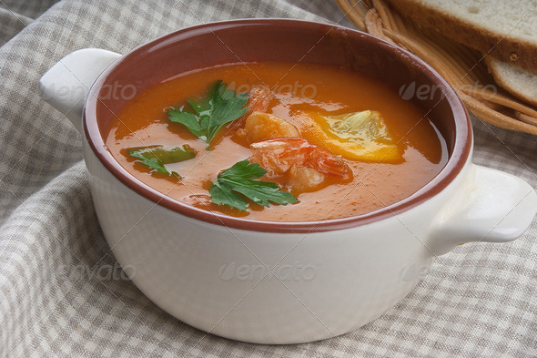 Tomato soup with shrimps - Stock Photo - Images