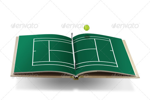 tennis  book with tennis ball - Stock Photo - Images