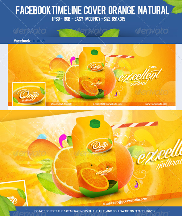 GraphicRiver FB Timeline Cover Orange Natural 3341349