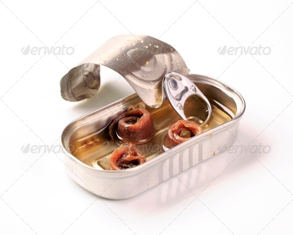 Tin of anchovies - Stock Photo - Images